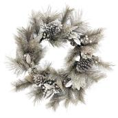Holiday Living Wreath with Pine Cones - Snow Angel - 24-in - Champagne and Gold