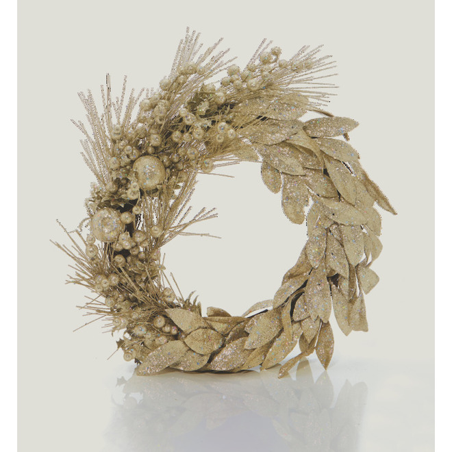 Holiday Living Wreath with Berries and Leaves - Chill Factor - 22-in - Gold