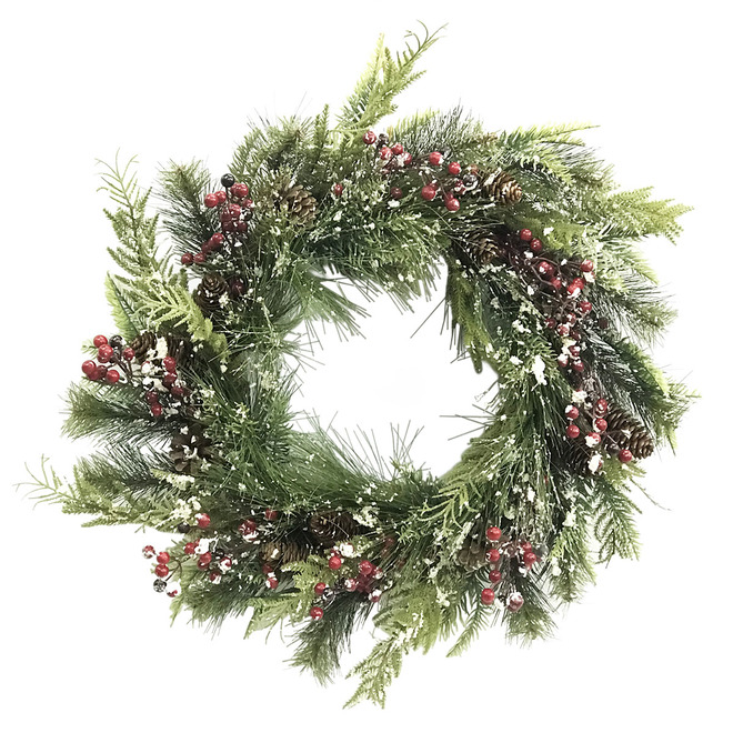 Holiday Living Wreath with Pine Cones and Berries - 22-in - Green, Red, White