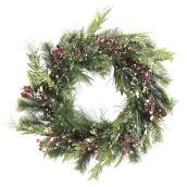 Couronne Holiday Living avec pommes de pin et baies, 22 po, vert, rouge et blanc