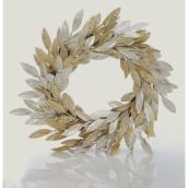 Holiday Living Wreath with Leaves - Chill Factor - 22-in - Gold and Silver