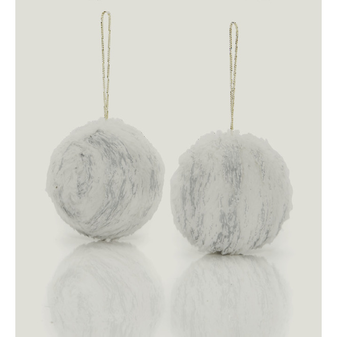 Holiday Living Fur Christmas Balls - Snow Angel - White - 2/Pack