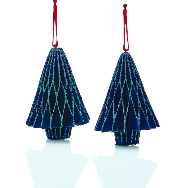 Holiday Living Paper Trees - Blue/Red - 2/Pack