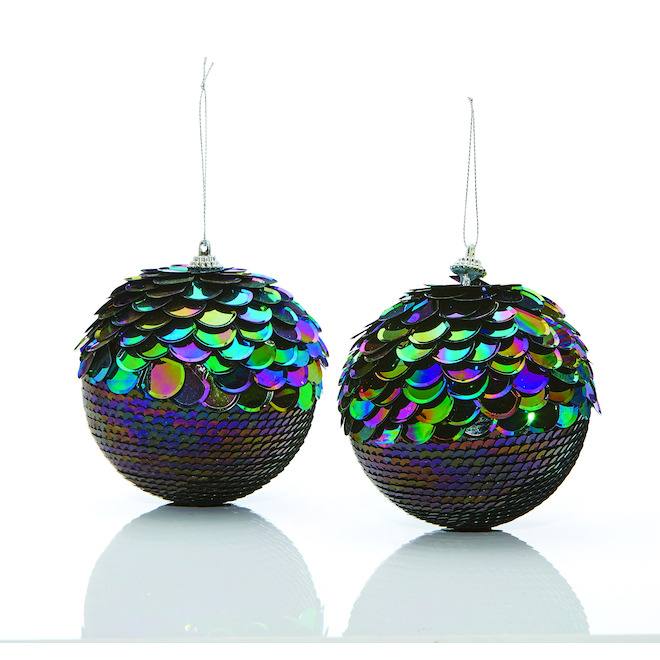Holiday Living Iridescent Sequin Christmas Ball Ornaments - Polystyrene/Plastic - 2/Pack