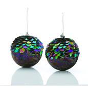Boules de Noël Holiday Living à paillettes iridescentes, polystyrène/plastique, ensemble de 2
