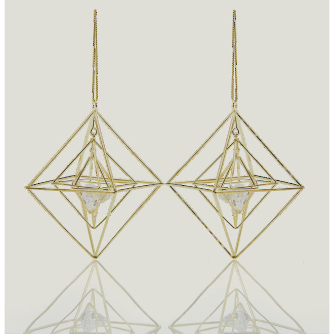 Holiday Living Polygon Ornaments - Chill Factor - Golden Metal Wires - 2/Pack