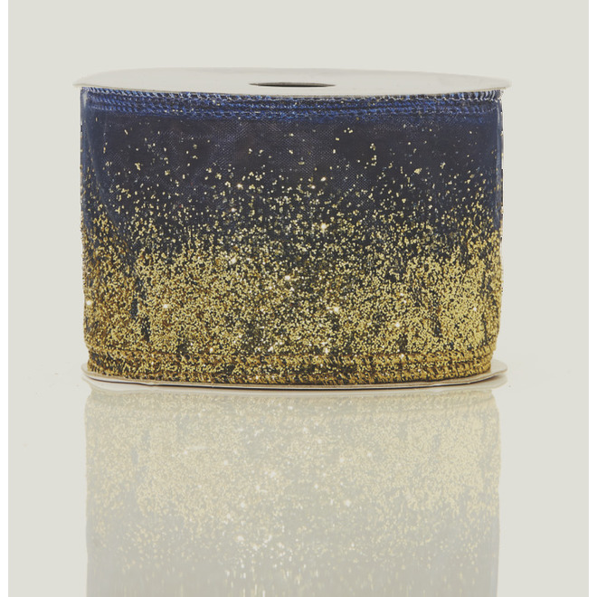 Holiday Living Polyester Ribbon - Chill Factor - 2.5-in x 10 Yards - Blue and Gold