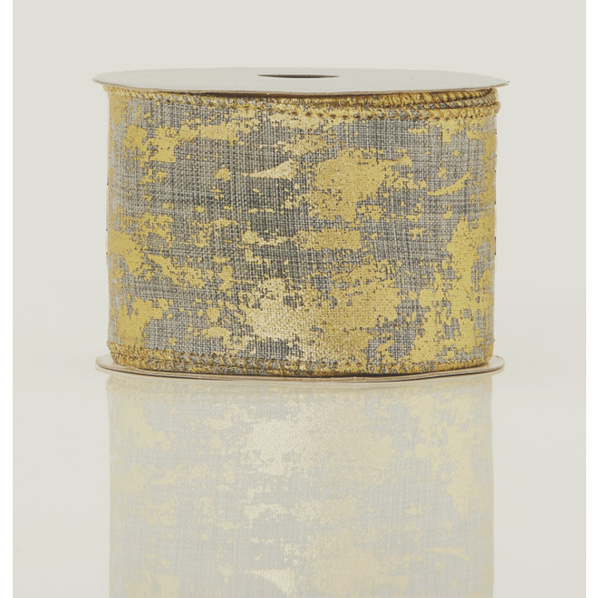 Holiday Living Polyester Ribbon - Chill Factor - 2.5-in x 10 Yards - Grey and Gold