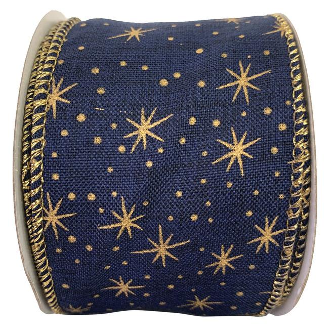 Ruban en polyester Holiday Living à étoiles, Paysage céleste, 2,5 po x 10 verges, bleu et or