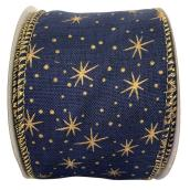 Holiday Living Polyester Ribbon with Stars - Chill Factor - 2.5-in x 10 Yards - Blue and Gold