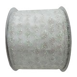 Ruban en polyester Holiday Living iridescent, Palais des glaces, 2,5 po x 10 verges, blanc