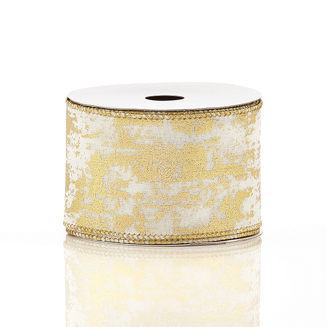 Holiday Living Polyester Ribbon - Snow Angel - 2.5-in x 10 Yards - Gold and Ivory