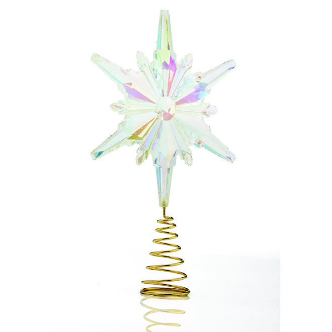 Holiday Living Snow Angel Tree Topper - Snowflake - Clear and Gold