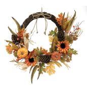 Couronne décorative d'Halloween Holiday Living avec citrouilles et tournesols, intérieur/extérieur, 22 po, 1 unité