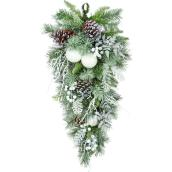 Holiday Living 1-Pack 28-in Indoor Green and White Artificial Christmas Teardrop Wreath