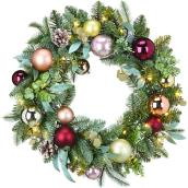 Holiday Living 1-Pack 24-in Indoor Battery-Operated Green Champagne Artificial Christmas Wreath Warm White LED Lights