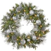 Holiday Living 1-Pack 30-in Indoor Battery-Operated Green Silver Artificial Christmas Wreath Warm White LED Lights