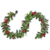 Holiday Living Indoor Pre-Lit 9-ft Berry and Pine Cone Garland with Warm White LED Lights