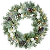 Holiday Living 1-Pack 30-in Indoor Battery-Operated Green White Artificial Christmas Wreath Warm White LED Lights