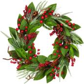 Holiday Living 1-Pack 22-in Indoor Green Leaf and Berry Artificial Christmas Wreath