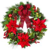 Holiday Living 1-Pack 30-in Indoor Battery-Operated Green and Red Artificial Christmas Wreath Warm White LED Lights