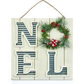 Décoration murale Holiday Living NOEL avec couronne, 12 po, blanc