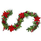 Holiday Living Indoor Pre-Lit 9-ft Poinsettia Christmas Garland with Warm White LED Lights