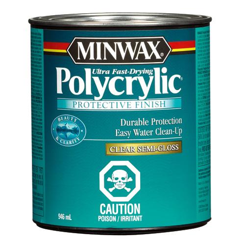 Fini protecteur à base d'eau Polycrylic, 946 ml, semi-lustré