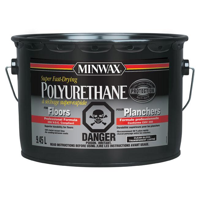 Vernis polyuréthane pour planchers Minwaz, transparent lustré, à base d'huile, 9,45 L