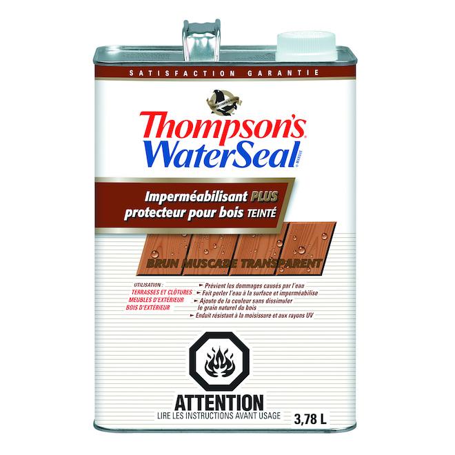 Imperméabilisant Plus et protecteur pour bois teinté Thompson's WaterSeal, brun muscade, transparent, faible COV, 3,78 L