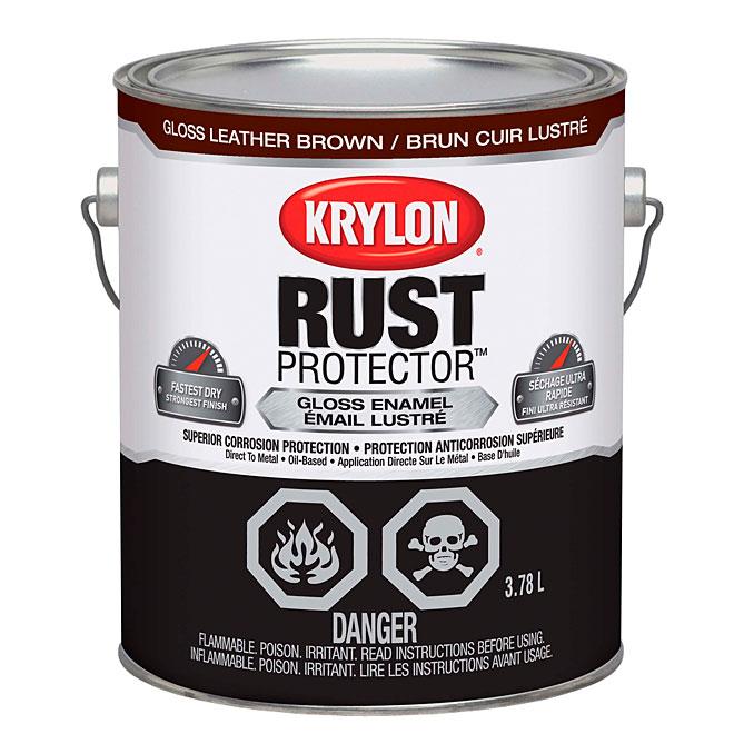 Peinture-émail antirouille Rust Protector Krylon, 3,78 l, brun cuir lustré