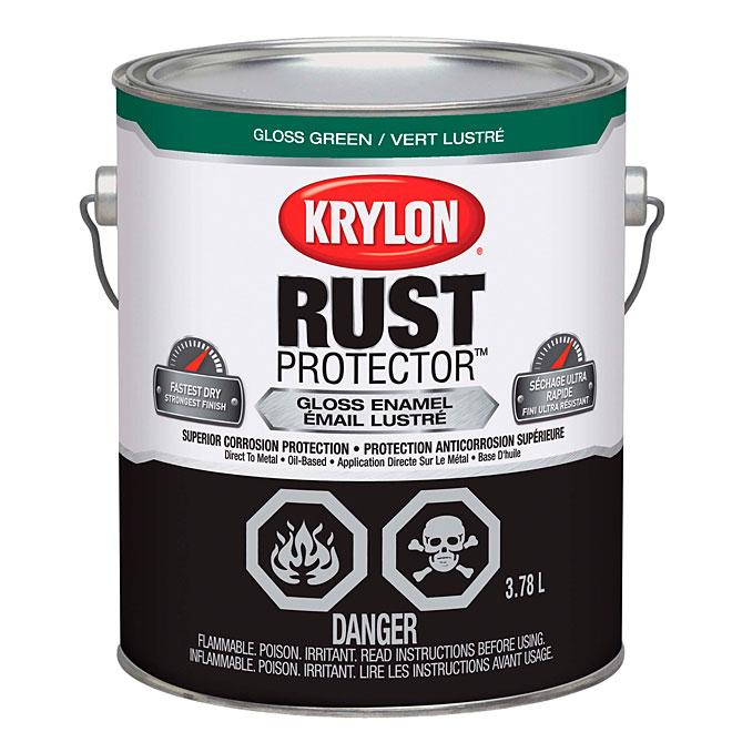Peinture-émail antirouille Rust Protector Krylon, 3,78 l, vert lustré