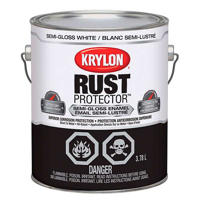 Peinture-émail antirouille Rust Protector Krylon, 3,78 l, blanc, semi-lustré
