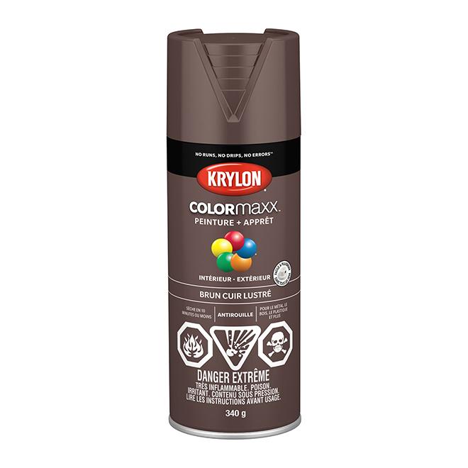 Peinture et apprêt COLORmaxx, aérosol, 340 g, brun cuir