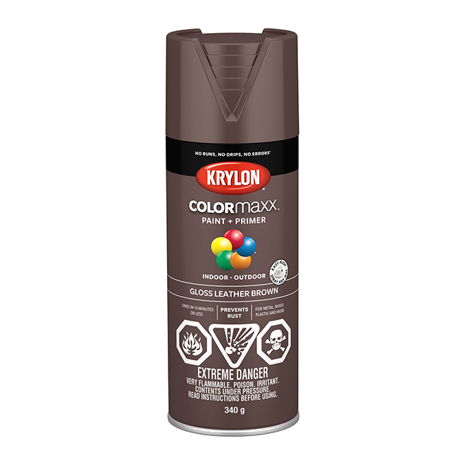 COLORmaxx Paint and Primer - Aerosol - 340 g - Leather Brown