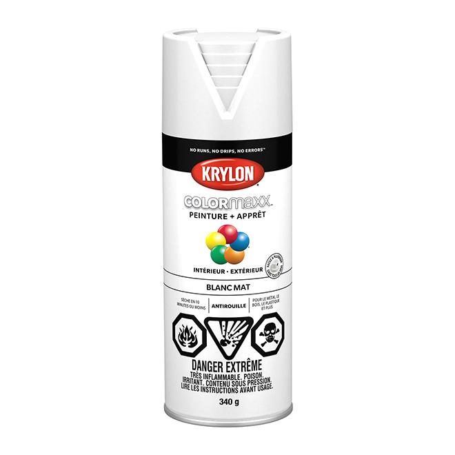 Peinture et apprêt ColorMaxx, aérosol, 340 g, blanc mat