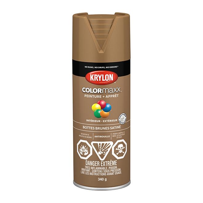 Peinture et apprêt Krylon Colormaxx, 340 g, bottes brunes