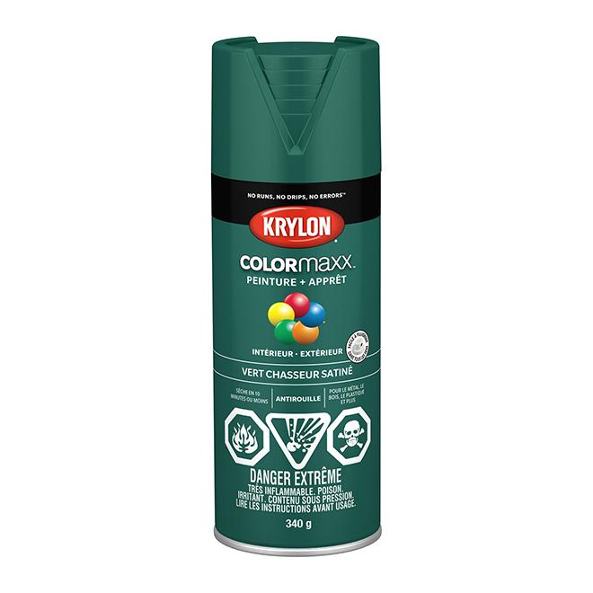 Peinture et apprêt Krylon Colormaxx, 340 g, vert chasseur