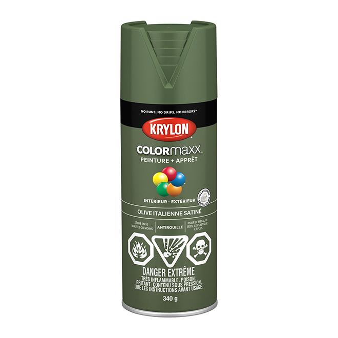 Peinture et apprêt Krylon Colormaxx, 340 g, olive italienne