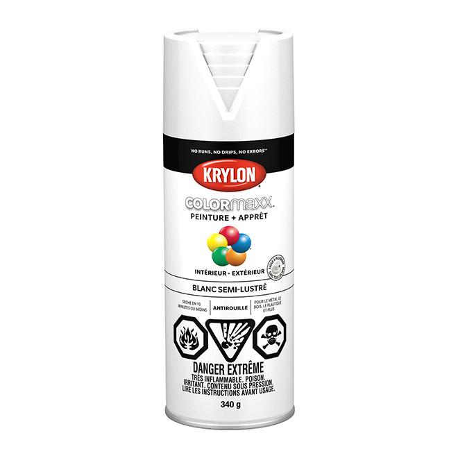 Peinture et apprêt Krylon Colormaxx, 340 g, blanc semi-lustré