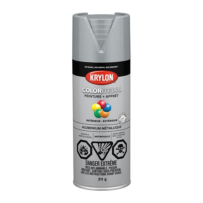Peinture et apprêt Krylon Colormaxx, 340 g, aluminium