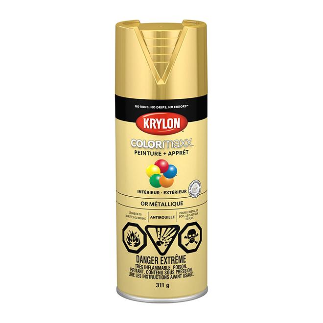 Peinture et apprêt Krylon Colormaxx, 340 g, or métallique