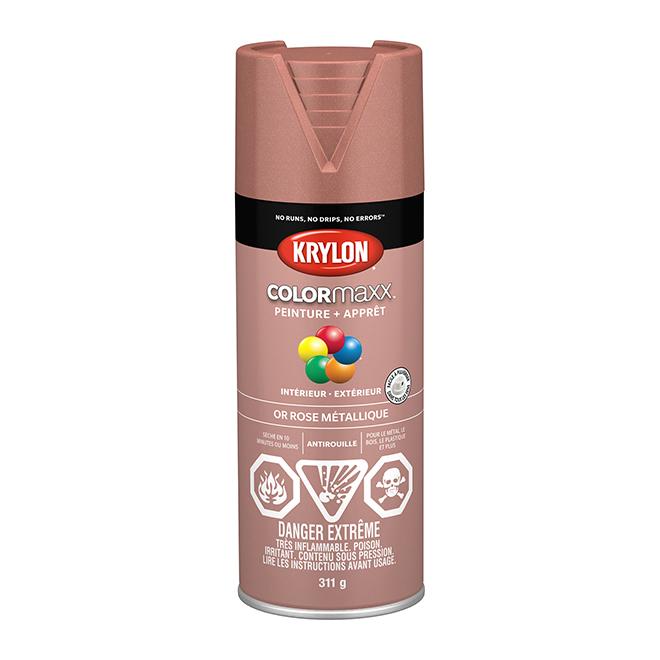 Peinture et apprêt Krylon Colormaxx, 340 g, or rose