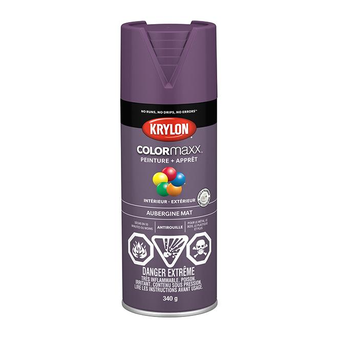 Peinture et apprêt Krylon Colormaxx, 340 g, aubergine