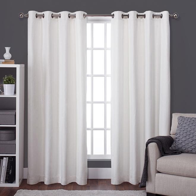 Panneau de rideau isotherme opaque de style soie brute, 54 po x 84 po, blanc cassé
