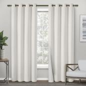 Raw Silk Thermal Off-White Grommet Blackout Single Curtain Panel - 54-in x 96-in