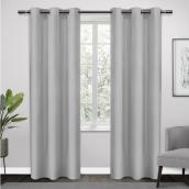Room Darkening Grommet Curtains - Polyester - 38-in x 84-in - Light Grey - Set of 2