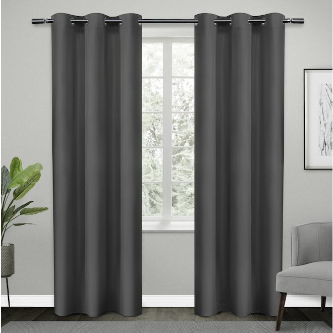 Rideaux obscurcissants en polyester avec oeillets, 38 po x 84 po, gris foncé, ensemble de 2
