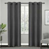 Room Darkening Grommet Curtains - Polyester - 38-in x 84-in - Dark Grey - Set of 2
