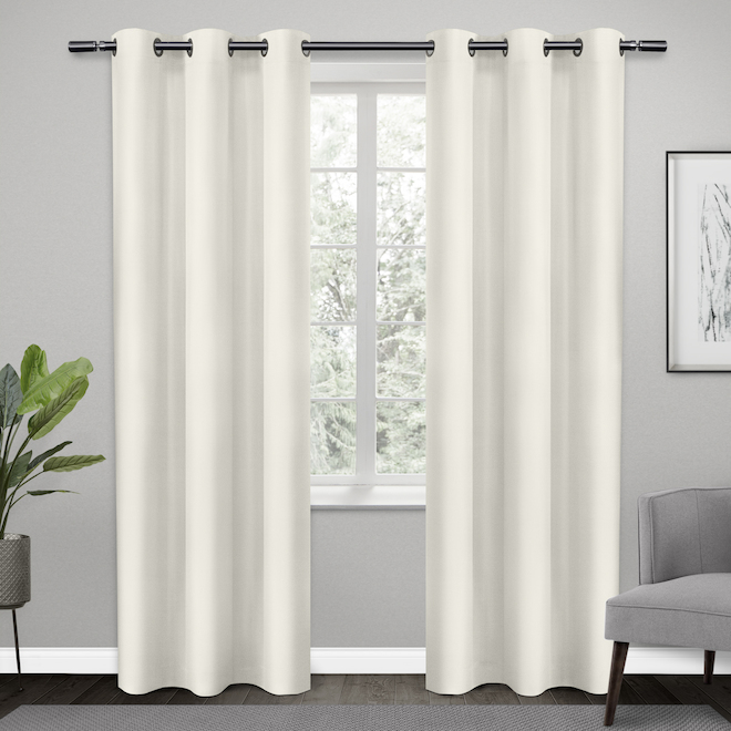 Rideaux obscurcissants en polyester avec oeillets, 38 po x 84 po, blanc, ensemble de 2